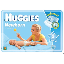 Подгузники Huggies Newborn 2 (3-6 кг) Conv Pack 32 шт.