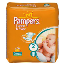 Подгузники Pampers® Sleep&Play 2 (3-6 кг) mini 18шт