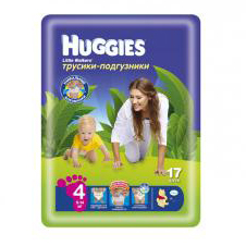Подгузники Huggies Little walker 4 (9-14 кг) Conv Pack 17 шт.