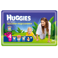 Подгузники Huggies Little walker 4 (9-14 кг) Jumbo Pack 34 шт.
