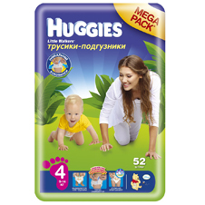 Подгузники Huggies Little walker 4 (9-14 кг)  Mega Pack 52 шт.