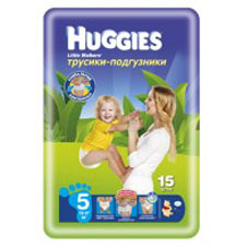 Подгузники Huggies Little walker 5 (13-17 кг)Conv Pack 15 шт.