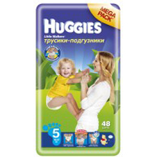Подгузники Huggies Little walker 5 (13-17 кг) Mega Pack 48 шт.