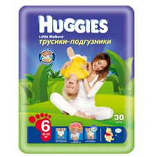 Подгузники Huggies Little walker 6 (16-22 кг) Jumbo Pack 30 шт.