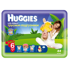 Подгузники Huggies Little walker 6 (16-22 кг) Mega Pack 44 шт.